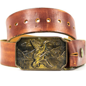 Other - Leather Duck Belt With Brass Buckle for Men